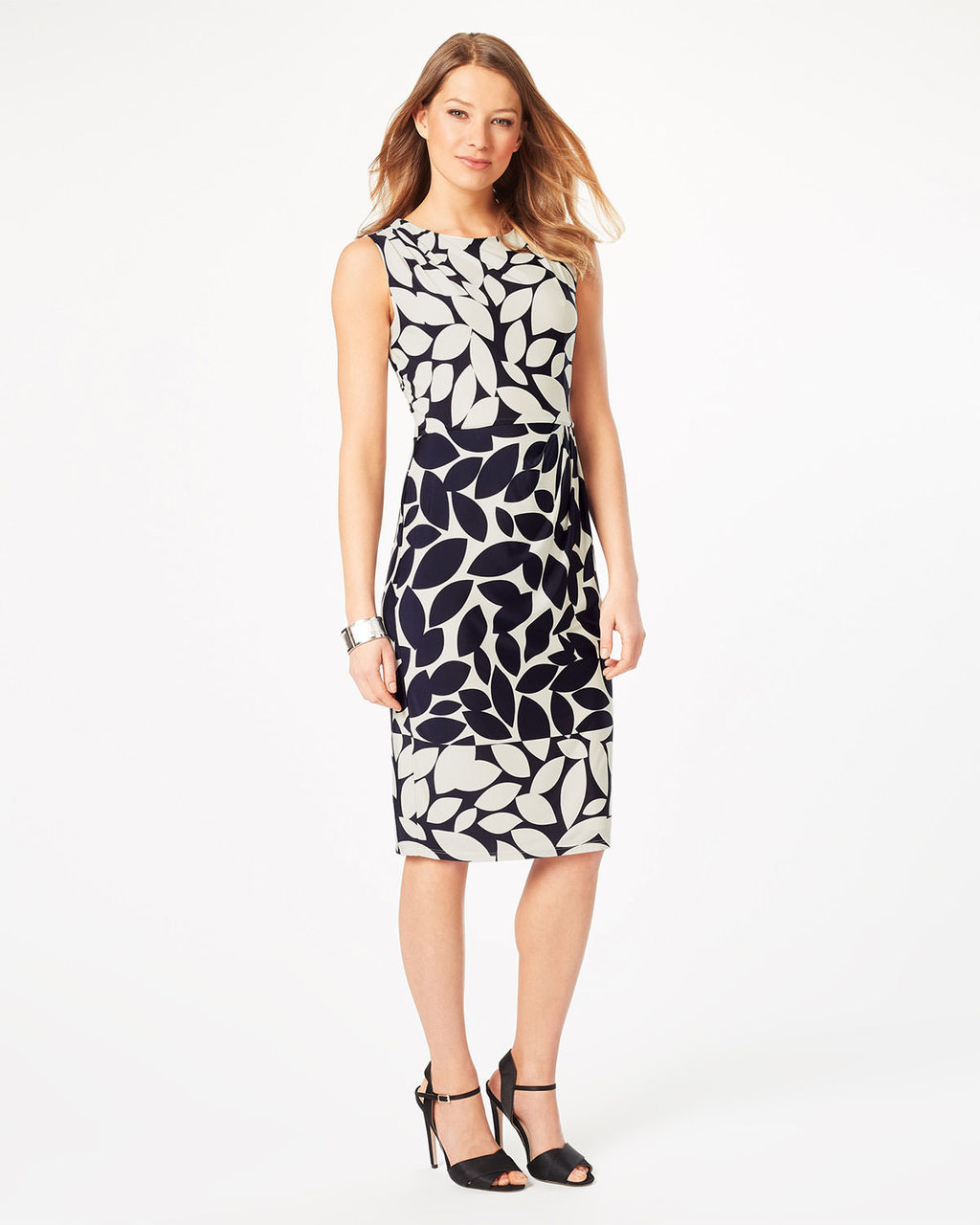 Leora Leaf Print Dress - style: shift; length: below the knee; sleeve style: sleeveless; predominant colour: white; secondary colour: navy; occasions: evening; fit: body skimming; fibres: polyester/polyamide - stretch; neckline: crew; sleeve length: sleeveless; texture group: jersey - clingy; pattern type: fabric; pattern size: big & busy; pattern: florals; multicoloured: multicoloured; season: s/s 2016; wardrobe: event