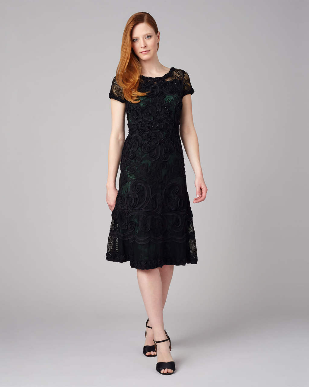 Tilly Tapework Dress - length: below the knee; pattern: plain; predominant colour: black; occasions: evening; fit: fitted at waist & bust; style: fit & flare; fibres: nylon - 100%; neckline: crew; sleeve length: short sleeve; sleeve style: standard; texture group: lace; pattern type: fabric; pattern size: standard; season: s/s 2016; wardrobe: event