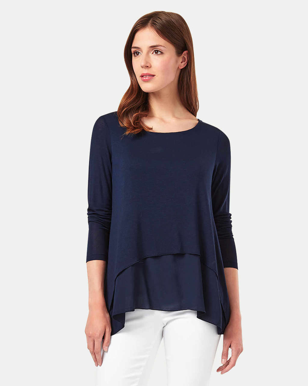 Ciera Plain Top - pattern: plain; predominant colour: navy; occasions: casual; length: standard; style: top; fibres: viscose/rayon - stretch; fit: body skimming; neckline: crew; sleeve length: long sleeve; sleeve style: standard; pattern type: fabric; texture group: jersey - stretchy/drapey; season: s/s 2016; wardrobe: basic