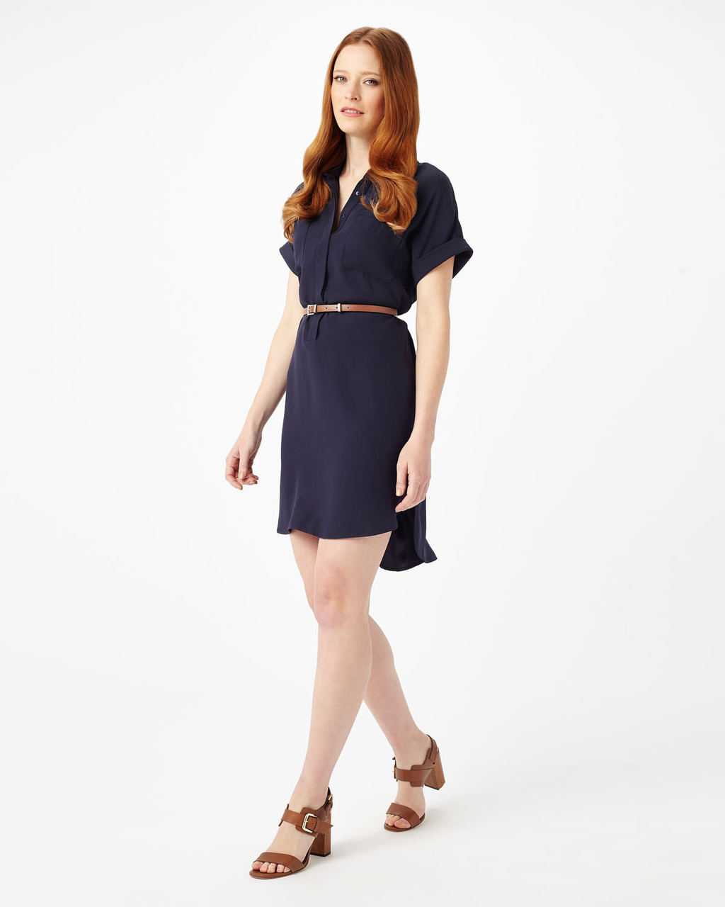 Melissa Belted Tunic - style: shift; neckline: v-neck; pattern: plain; waist detail: belted waist/tie at waist/drawstring; predominant colour: navy; occasions: casual; length: just above the knee; fit: body skimming; sleeve length: short sleeve; sleeve style: standard; pattern type: fabric; texture group: other - light to midweight; fibres: viscose/rayon - mix; season: s/s 2016; wardrobe: basic
