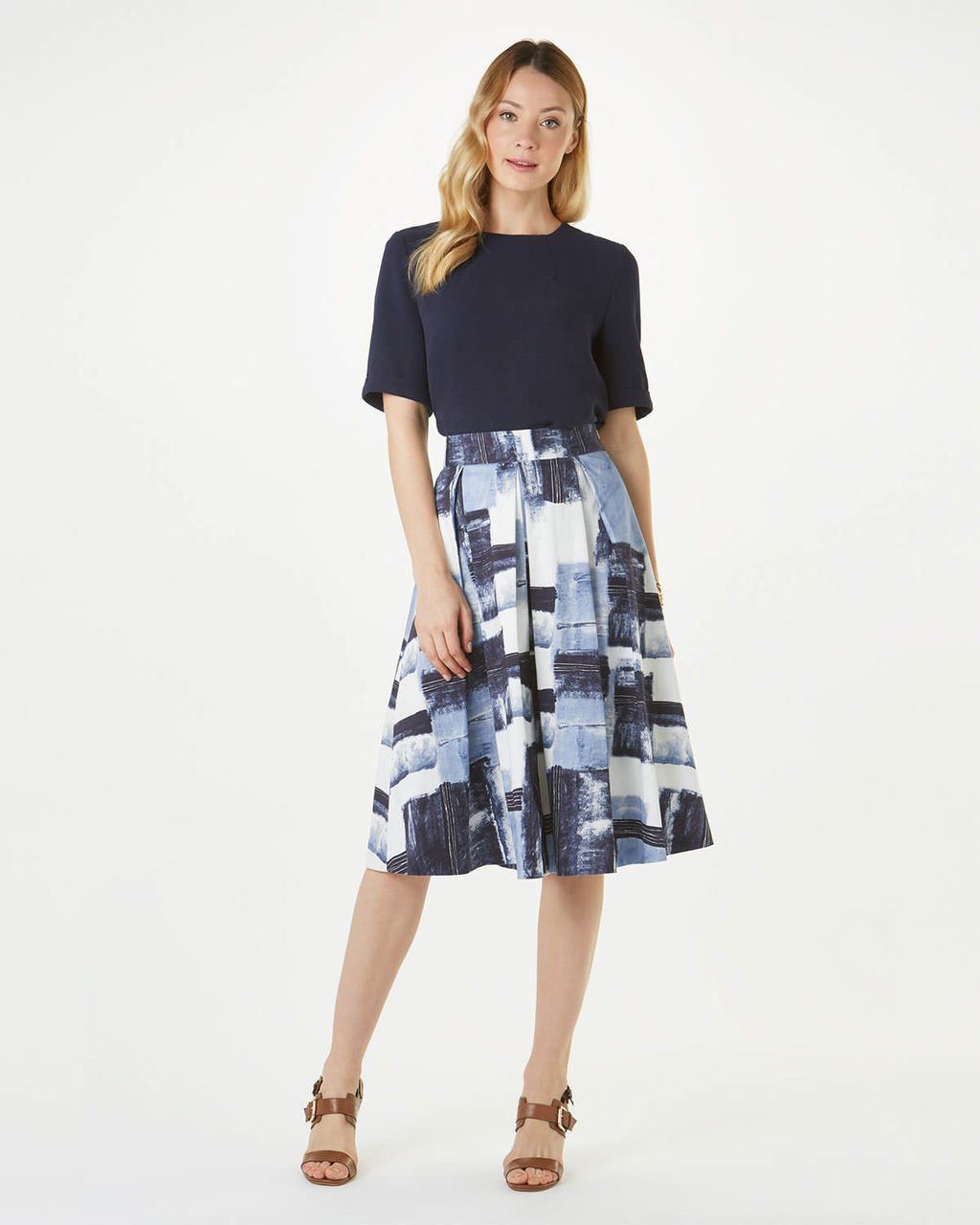 Novella Skirt - pattern: plain; style: full/prom skirt; fit: loose/voluminous; waist: high rise; secondary colour: pale blue; predominant colour: navy; length: on the knee; fibres: cotton - stretch; occasions: occasion, creative work; hip detail: subtle/flattering hip detail; pattern type: fabric; texture group: other - light to midweight; pattern size: big & busy (bottom); multicoloured: multicoloured; season: s/s 2016; wardrobe: basic