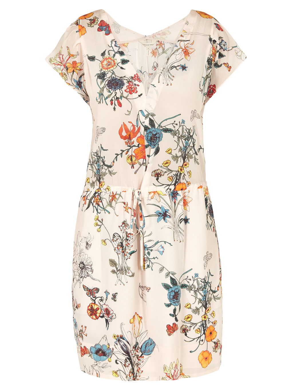Sleeveless Meadow V Neck Dress - neckline: v-neck; predominant colour: ivory/cream; secondary colour: bright orange; occasions: evening; length: just above the knee; fit: fitted at waist & bust; style: fit & flare; fibres: silk - 100%; sleeve length: short sleeve; sleeve style: standard; pattern type: fabric; pattern size: big & busy; pattern: florals; texture group: other - light to midweight; multicoloured: multicoloured; season: s/s 2016; wardrobe: event