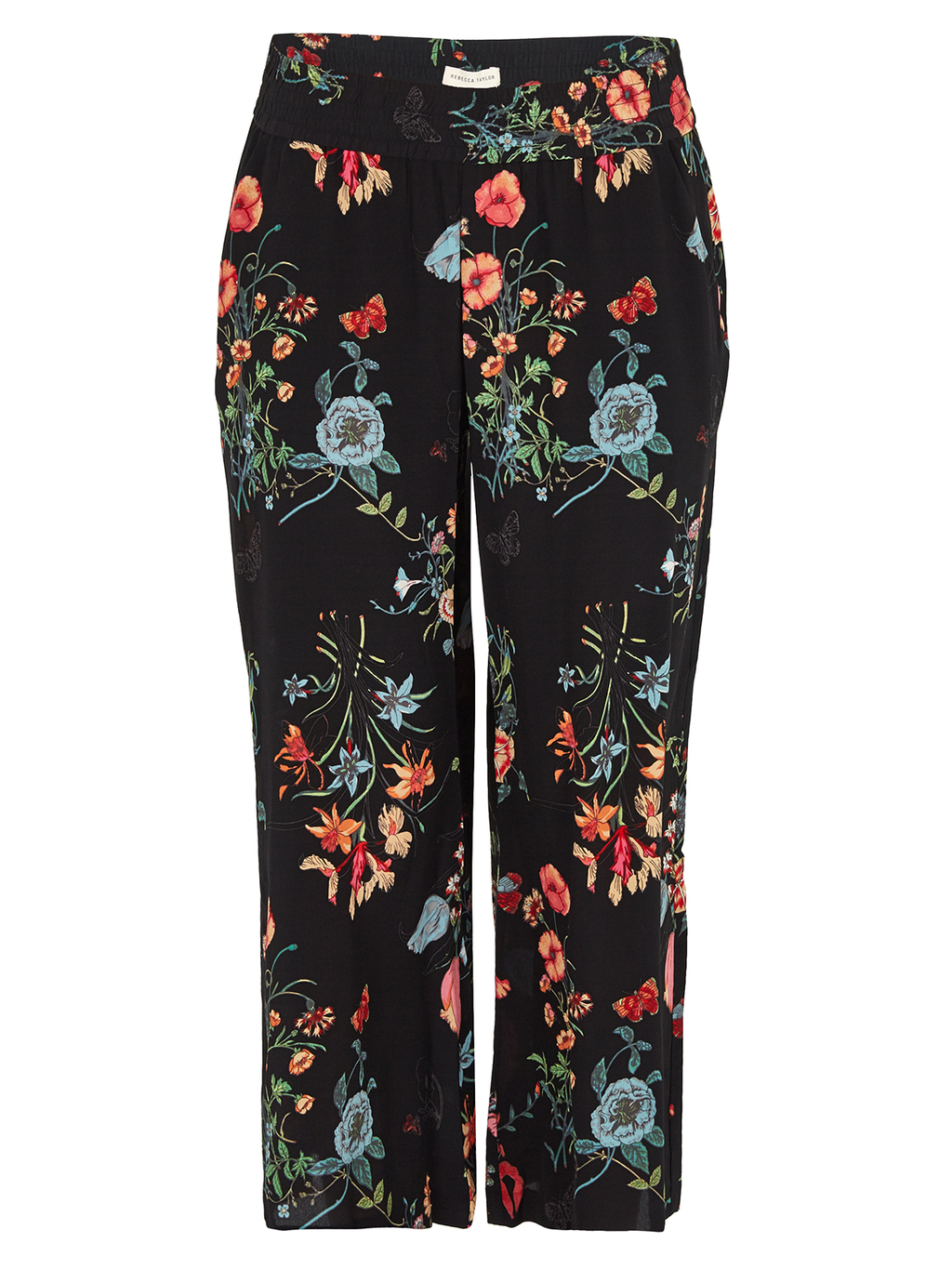 Meadow Floral Pant - style: straight leg; length: standard; waist: high rise; predominant colour: black; occasions: casual, creative work; fibres: cotton - 100%; texture group: denim; pattern type: fabric; pattern: florals; pattern size: big & busy (bottom); multicoloured: multicoloured; season: s/s 2016