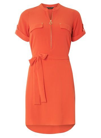 Womens Red Zip Front Shirt Dress Red - style: shift; pattern: plain; waist detail: belted waist/tie at waist/drawstring; bust detail: subtle bust detail; predominant colour: bright orange; occasions: evening; length: just above the knee; fit: body skimming; neckline: collarstand & mandarin with v-neck; fibres: polyester/polyamide - stretch; sleeve length: short sleeve; sleeve style: standard; texture group: crepes; pattern type: fabric; season: s/s 2016; wardrobe: event