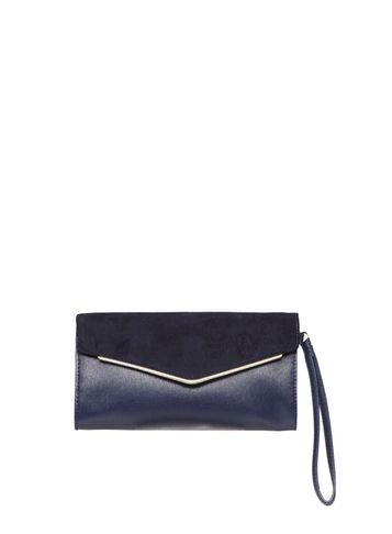 Womens Navy Skinny Bar Wristlet Blue - predominant colour: navy; occasions: evening; type of pattern: standard; style: grab bag; length: hand carry; size: small; material: faux leather; pattern: plain; finish: plain; season: s/s 2016; wardrobe: event