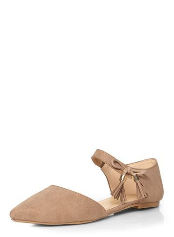 Womens Taupe 'hesper' Tassel Pumps Natural - predominant colour: nude; occasions: casual; material: fabric; heel height: flat; embellishment: tassels; ankle detail: ankle strap; toe: pointed toe; style: ballerinas / pumps; finish: plain; pattern: plain; season: s/s 2016; wardrobe: basic