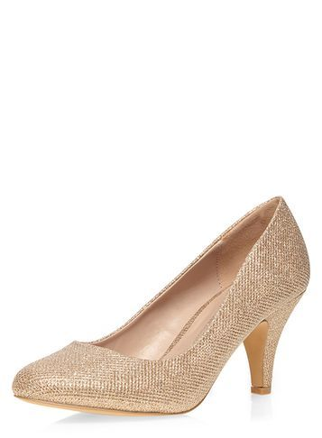 Womens Wide Fit Gold 'wilamina' Mid Court Shoes Gold - predominant colour: gold; occasions: evening, occasion, creative work; material: faux leather; heel height: high; heel: cone; toe: pointed toe; style: courts; finish: plain; pattern: plain; season: s/s 2016; wardrobe: highlight
