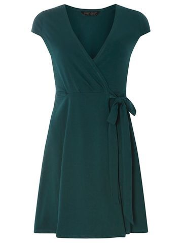 Womens Green Wrap Dress Green - style: faux wrap/wrap; neckline: v-neck; sleeve style: capped; pattern: plain; waist detail: belted waist/tie at waist/drawstring; predominant colour: dark green; occasions: evening; length: just above the knee; fit: body skimming; fibres: cotton - stretch; sleeve length: short sleeve; pattern type: fabric; texture group: jersey - stretchy/drapey; season: s/s 2016; wardrobe: event