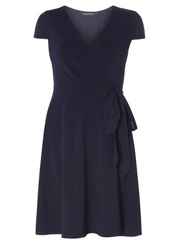 Womens **Tall Navy Wrap Dress Navy - style: faux wrap/wrap; neckline: low v-neck; pattern: plain; waist detail: belted waist/tie at waist/drawstring; predominant colour: navy; occasions: evening, occasion; length: on the knee; fit: body skimming; fibres: cotton - stretch; hip detail: soft pleats at hip/draping at hip/flared at hip; sleeve length: short sleeve; sleeve style: standard; pattern type: fabric; texture group: jersey - stretchy/drapey; season: s/s 2016; wardrobe: event