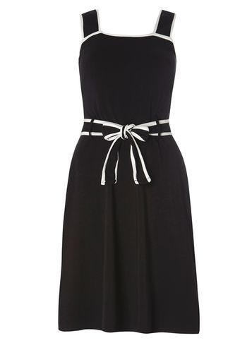 Womens **Tall Black And Ivory Tip Dress Black - pattern: plain; sleeve style: sleeveless; waist detail: belted waist/tie at waist/drawstring; secondary colour: white; predominant colour: black; occasions: evening; length: on the knee; fit: fitted at waist & bust; style: fit & flare; fibres: cotton - stretch; sleeve length: sleeveless; neckline: medium square neck; pattern type: fabric; texture group: jersey - stretchy/drapey; embellishment: bow; season: s/s 2016; wardrobe: event