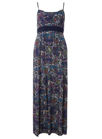 Womens **Mela Navy Paisley Maxi Dress Blue - neckline: low v-neck; sleeve style: spaghetti straps; style: maxi dress; length: ankle length; pattern: paisley; secondary colour: ivory/cream; predominant colour: navy; occasions: evening; fit: body skimming; fibres: polyester/polyamide - 100%; sleeve length: sleeveless; pattern type: fabric; texture group: jersey - stretchy/drapey; multicoloured: multicoloured; season: s/s 2016; wardrobe: event