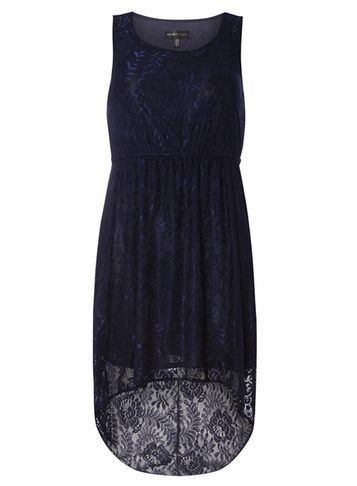 Womens **Mela Navy Lace High Low Dress Blue - pattern: plain; sleeve style: sleeveless; predominant colour: navy; occasions: evening; length: just above the knee; fit: body skimming; style: asymmetric (hem); fibres: polyester/polyamide - mix; neckline: crew; sleeve length: sleeveless; texture group: lace; pattern type: fabric; pattern size: standard; season: s/s 2016; wardrobe: event