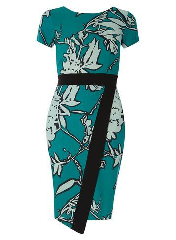 Womens **Closet Multi Floral Wrap Dress Multi Colour - style: shift; secondary colour: pistachio; predominant colour: teal; occasions: evening; length: on the knee; fit: body skimming; fibres: viscose/rayon - 100%; neckline: crew; sleeve length: short sleeve; sleeve style: standard; pattern type: fabric; pattern size: big & busy; pattern: florals; texture group: jersey - stretchy/drapey; multicoloured: multicoloured; season: s/s 2016; wardrobe: event