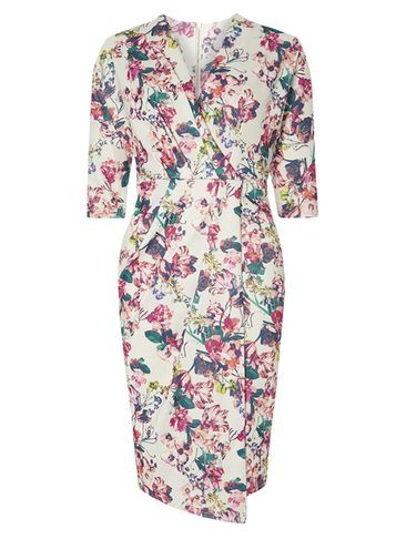 Womens **Closet Multi Floral Wrap Dress Multi Colour - style: faux wrap/wrap; neckline: v-neck; predominant colour: white; secondary colour: pink; occasions: evening; length: just above the knee; fit: body skimming; fibres: polyester/polyamide - stretch; sleeve length: half sleeve; sleeve style: standard; pattern type: fabric; pattern: florals; texture group: jersey - stretchy/drapey; multicoloured: multicoloured; season: s/s 2016; wardrobe: event