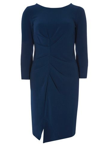 Womens **Closet Navy Gathered Dress Blue - style: shift; pattern: plain; waist detail: flattering waist detail; predominant colour: navy; occasions: evening; length: just above the knee; fit: body skimming; fibres: polyester/polyamide - stretch; neckline: crew; sleeve length: long sleeve; sleeve style: standard; pattern type: fabric; texture group: jersey - stretchy/drapey; season: s/s 2016; wardrobe: event