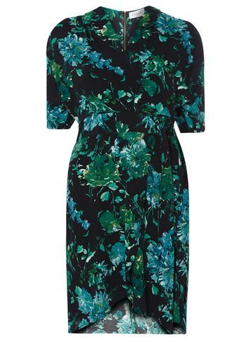 Womens **Closet Black Kimono Wrap Dress Black - style: faux wrap/wrap; neckline: v-neck; secondary colour: emerald green; predominant colour: black; occasions: evening; length: just above the knee; fit: body skimming; fibres: viscose/rayon - 100%; sleeve length: short sleeve; sleeve style: standard; pattern type: fabric; pattern size: big & busy; pattern: florals; texture group: jersey - stretchy/drapey; multicoloured: multicoloured; season: s/s 2016; wardrobe: event