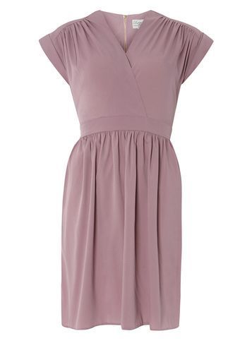 Womens **Closet Lilac Cross Over Dress Purple - style: faux wrap/wrap; neckline: v-neck; sleeve style: capped; pattern: plain; predominant colour: lilac; occasions: evening; length: just above the knee; fit: body skimming; fibres: polyester/polyamide - 100%; sleeve length: short sleeve; pattern type: fabric; texture group: jersey - stretchy/drapey; season: s/s 2016; wardrobe: event