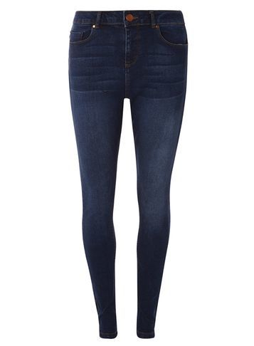 Womens **Tall Indigo Zip Hem 'darcy' Super Skinny Jeans Blue - style: skinny leg; length: standard; pattern: plain; pocket detail: traditional 5 pocket; waist: mid/regular rise; predominant colour: navy; occasions: casual; fibres: cotton - stretch; jeans detail: whiskering, washed/faded; texture group: denim; pattern type: fabric; season: s/s 2016