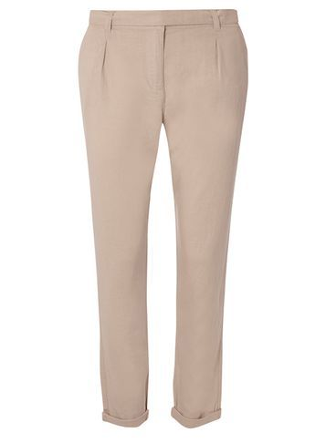 Womens Stone Linen Trouser White - length: standard; pattern: plain; waist: mid/regular rise; predominant colour: stone; occasions: work; fibres: linen - 100%; texture group: linen; fit: slim leg; pattern type: fabric; style: standard; season: s/s 2016; wardrobe: basic