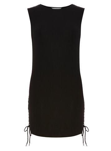 Womens Petite Tie Side Knitted Tunic Black - pattern: plain; sleeve style: sleeveless; length: below the bottom; style: tunic; predominant colour: black; occasions: casual; fibres: acrylic - mix; fit: body skimming; neckline: crew; sleeve length: sleeveless; pattern type: fabric; texture group: jersey - stretchy/drapey; season: s/s 2016; wardrobe: basic