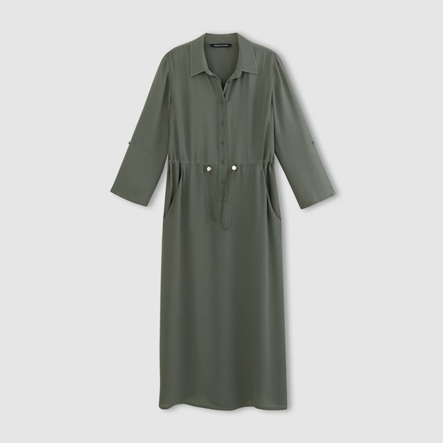 Cecil Shirt Dress - style: shirt; length: below the knee; neckline: shirt collar/peter pan/zip with opening; pattern: plain; waist detail: belted waist/tie at waist/drawstring; predominant colour: khaki; occasions: casual; fit: body skimming; fibres: viscose/rayon - 100%; sleeve length: long sleeve; sleeve style: standard; pattern type: fabric; texture group: woven light midweight; season: s/s 2016; wardrobe: basic