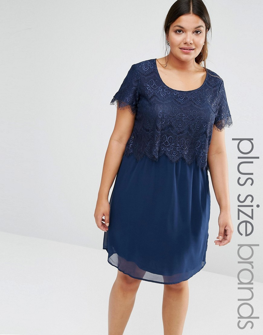 Plus Jenny Dress With Lace Top Navy - style: shift; neckline: round neck; predominant colour: navy; length: just above the knee; fit: body skimming; fibres: viscose/rayon - stretch; occasions: occasion; sleeve length: short sleeve; sleeve style: standard; texture group: sheer fabrics/chiffon/organza etc.; pattern type: fabric; pattern: patterned/print; embellishment: lace; season: s/s 2016; wardrobe: event
