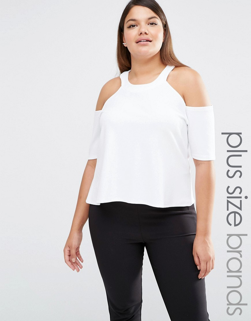 Cold Shoulder Jersey Top White - neckline: round neck; pattern: plain; predominant colour: white; occasions: casual, evening; length: standard; style: top; fibres: polyester/polyamide - stretch; fit: body skimming; shoulder detail: cut out shoulder; sleeve length: half sleeve; sleeve style: standard; pattern type: fabric; texture group: jersey - stretchy/drapey; season: s/s 2016; wardrobe: highlight