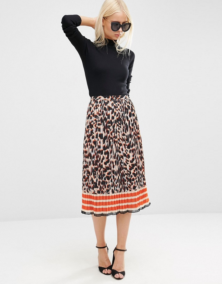 Animal Print Pleated Midi Skirt Multi - length: below the knee; fit: loose/voluminous; style: pleated; waist: high rise; secondary colour: bright orange; predominant colour: stone; occasions: casual, occasion, creative work; fibres: polyester/polyamide - 100%; hip detail: adds bulk at the hips; texture group: cotton feel fabrics; pattern type: fabric; pattern: animal print; pattern size: standard (bottom); multicoloured: multicoloured; season: s/s 2016; wardrobe: highlight