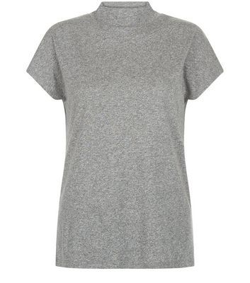 Grey Funnel Neck T Shirt - pattern: plain; neckline: high neck; style: t-shirt; predominant colour: mid grey; occasions: casual; length: standard; fibres: cotton - mix; fit: body skimming; sleeve length: short sleeve; sleeve style: standard; pattern type: fabric; texture group: jersey - stretchy/drapey; season: s/s 2016; wardrobe: basic; embellishment location: bust