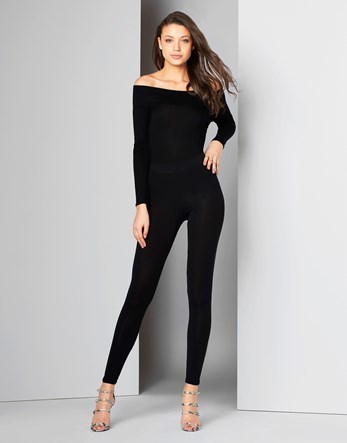 Contrast Waist Band Leggings - length: standard; pattern: plain; style: leggings; hip detail: draws attention to hips; waist: mid/regular rise; predominant colour: black; occasions: casual; fibres: viscose/rayon - stretch; texture group: jersey - clingy; fit: skinny/tight leg; pattern type: fabric; season: s/s 2016; wardrobe: basic