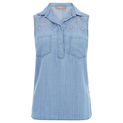 Embroidered Sleeveless Shirt, Denim - neckline: shirt collar/peter pan/zip with opening; pattern: plain; sleeve style: sleeveless; style: shirt; bust detail: pocket detail at bust; predominant colour: denim; occasions: casual, creative work; length: standard; fibres: cotton - 100%; fit: body skimming; sleeve length: sleeveless; texture group: denim; pattern type: fabric; season: s/s 2016