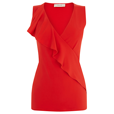Crepe Ruffle Top, Red - neckline: low v-neck; pattern: plain; sleeve style: sleeveless; length: below the bottom; predominant colour: true red; occasions: evening, creative work; style: top; fibres: polyester/polyamide - stretch; fit: tailored/fitted; sleeve length: sleeveless; texture group: crepes; bust detail: tiers/frills/bulky drapes/pleats; pattern type: fabric; season: s/s 2016