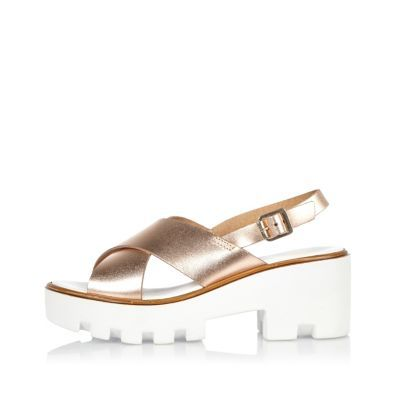 Womens Gold Leather Platform Sandals - secondary colour: white; predominant colour: gold; occasions: casual, holiday; material: leather; heel height: mid; heel: block; toe: open toe/peeptoe; style: strappy; finish: metallic; pattern: plain; shoe detail: platform with tread; season: s/s 2016