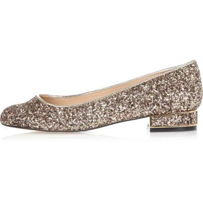 Womens Gold Glitter Heeled Ballet Pumps - predominant colour: silver; material: faux leather; heel height: flat; embellishment: glitter; toe: round toe; style: ballerinas / pumps; finish: metallic; pattern: plain; occasions: creative work; season: s/s 2016; wardrobe: basic