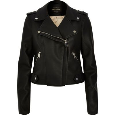 Womens Black Biker Jacket - pattern: plain; style: biker; collar: asymmetric biker; fit: slim fit; predominant colour: black; occasions: casual; length: standard; fibres: leather - 100%; sleeve length: long sleeve; sleeve style: standard; texture group: leather; collar break: medium; pattern type: fabric; season: s/s 2016
