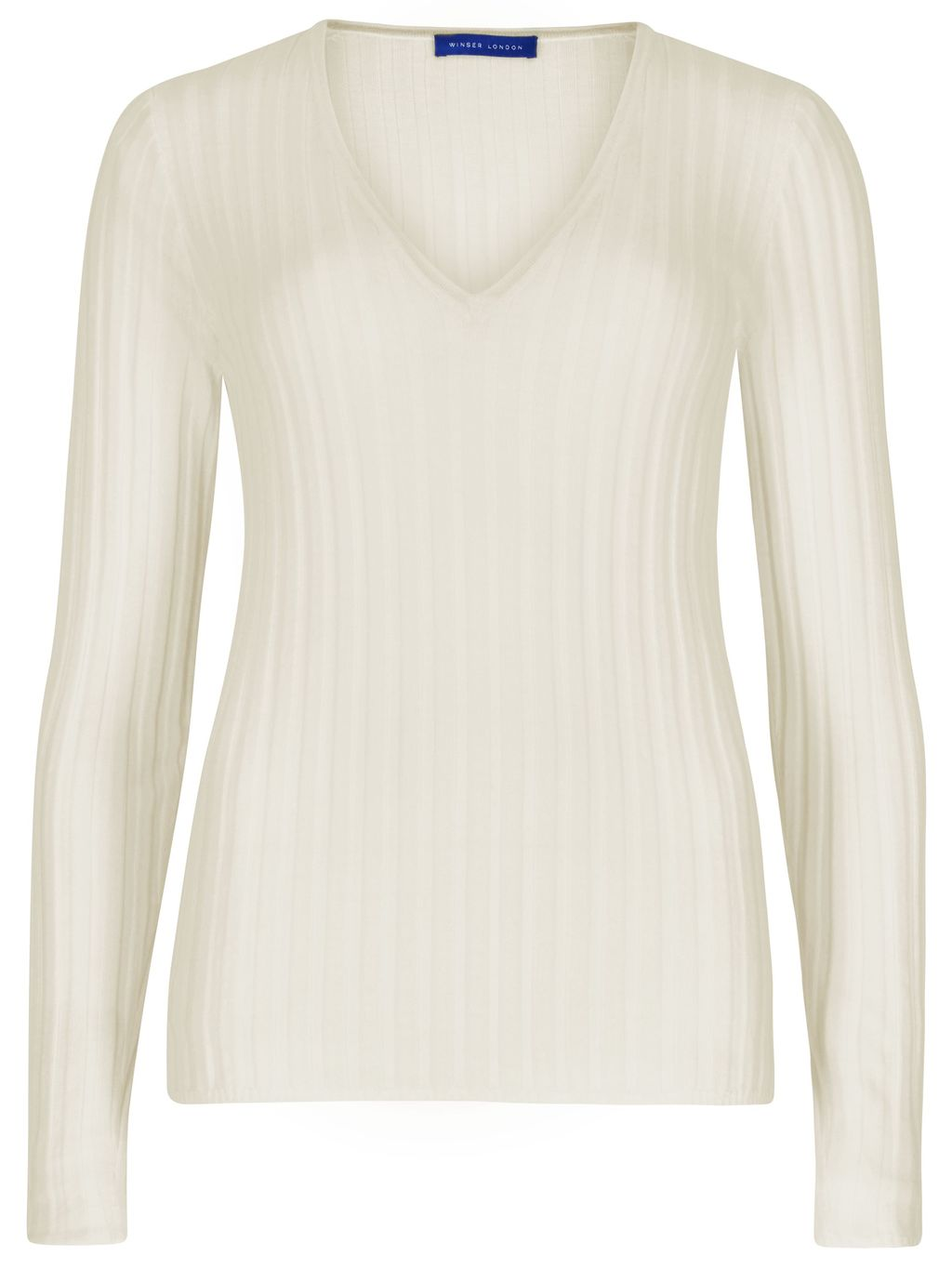 Merino Wool Rib V Neck Jumper, Cream - neckline: v-neck; pattern: plain; style: standard; predominant colour: ivory/cream; occasions: casual; length: standard; fibres: wool - 100%; fit: slim fit; sleeve length: long sleeve; sleeve style: standard; texture group: knits/crochet; pattern type: knitted - fine stitch; season: s/s 2016; wardrobe: basic