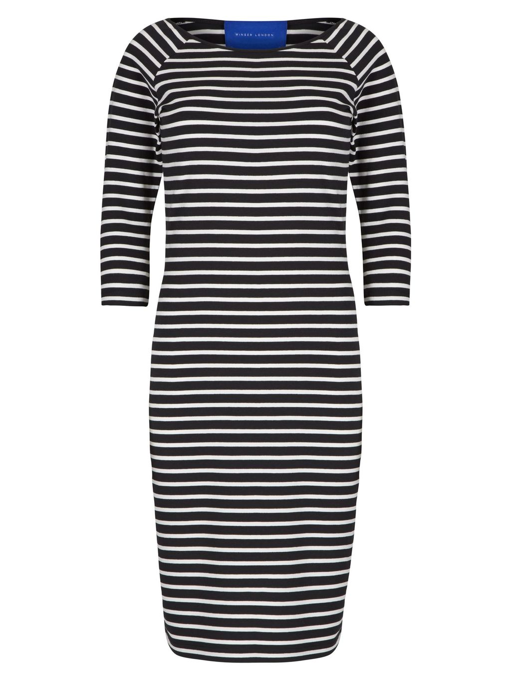 Cotton Jersey Striped Dress, Black - fit: tight; pattern: horizontal stripes; style: bodycon; hip detail: fitted at hip; secondary colour: white; predominant colour: black; occasions: casual; length: just above the knee; fibres: cotton - 100%; neckline: crew; sleeve length: half sleeve; sleeve style: standard; texture group: jersey - clingy; pattern type: fabric; multicoloured: multicoloured; season: s/s 2016; wardrobe: basic