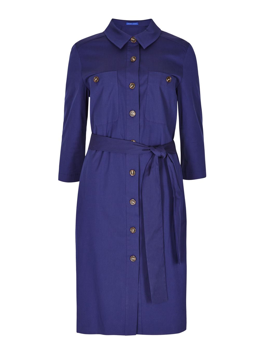 Cotton Poplin Shirt Dress, Navy - style: shirt; neckline: shirt collar/peter pan/zip with opening; pattern: plain; waist detail: belted waist/tie at waist/drawstring; predominant colour: navy; occasions: casual; length: on the knee; fit: body skimming; fibres: cotton - 100%; sleeve length: 3/4 length; sleeve style: standard; texture group: cotton feel fabrics; pattern type: fabric; season: s/s 2016; wardrobe: basic