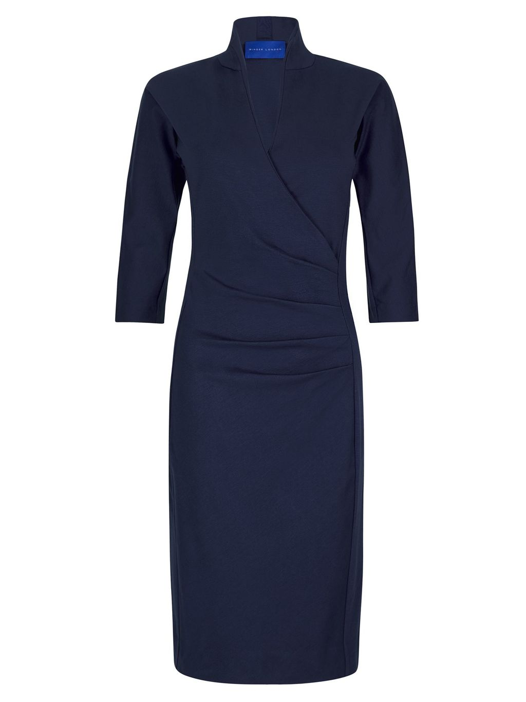 Grace Miracle Dress, Navy - style: faux wrap/wrap; neckline: v-neck; pattern: plain; hip detail: draws attention to hips; predominant colour: navy; occasions: evening; length: on the knee; fit: body skimming; fibres: viscose/rayon - stretch; sleeve length: half sleeve; sleeve style: standard; pattern type: fabric; texture group: jersey - stretchy/drapey; season: s/s 2016; wardrobe: event