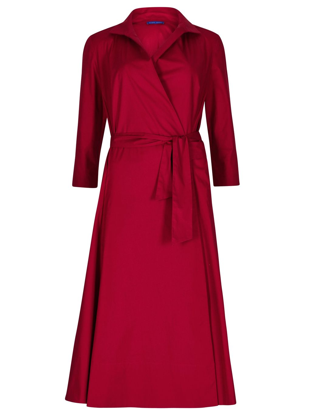 Cotton Poplin Wrap Dress, Red - style: faux wrap/wrap; length: below the knee; neckline: shirt collar/peter pan/zip with opening; fit: fitted at waist; pattern: plain; fibres: cotton - 100%; occasions: occasion; sleeve length: 3/4 length; sleeve style: standard; pattern type: fabric; texture group: other - light to midweight; predominant colour: raspberry; season: s/s 2016; wardrobe: event