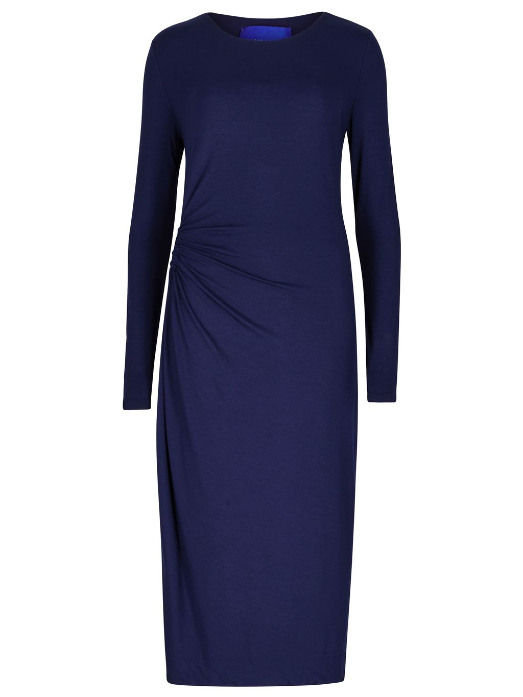 Rose Jersey Dress, Navy - style: shift; neckline: round neck; pattern: plain; predominant colour: navy; occasions: evening; length: just above the knee; fit: body skimming; fibres: viscose/rayon - stretch; sleeve length: long sleeve; sleeve style: standard; texture group: crepes; pattern type: fabric; season: s/s 2016; wardrobe: event