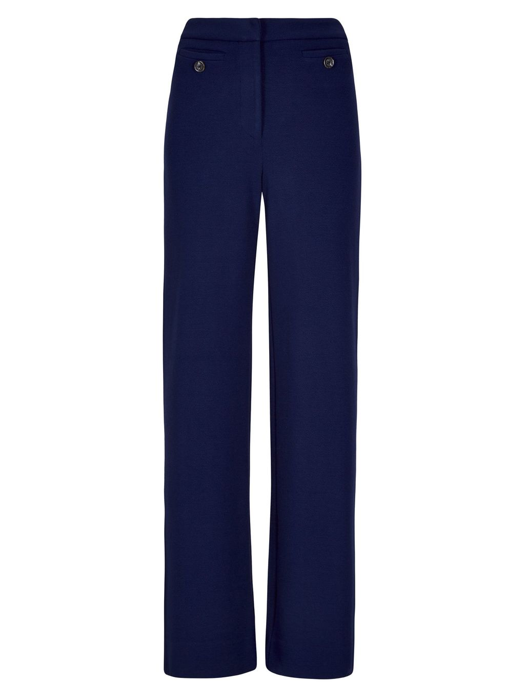 Crepe Jersey Wide Leg Trousers, Navy - length: standard; pattern: plain; waist: high rise; predominant colour: navy; fibres: polyester/polyamide - 100%; texture group: crepes; fit: wide leg; pattern type: fabric; style: standard; occasions: creative work; season: s/s 2016; wardrobe: basic