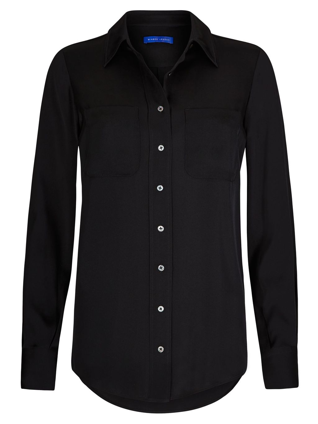 Silk Shirt, Black - neckline: shirt collar/peter pan/zip with opening; pattern: plain; style: shirt; predominant colour: black; occasions: casual, creative work; length: standard; fibres: silk - 100%; fit: straight cut; sleeve length: long sleeve; sleeve style: standard; texture group: silky - light; pattern type: fabric; season: s/s 2016; wardrobe: basic