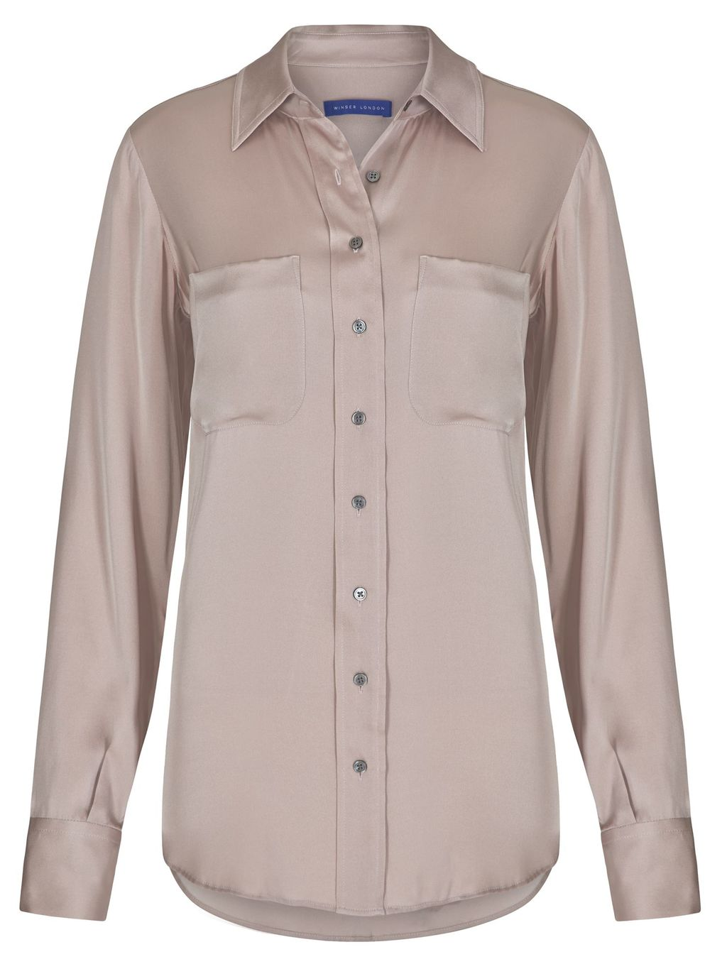 Silk Shirt, Beige - neckline: shirt collar/peter pan/zip with opening; pattern: plain; style: shirt; bust detail: subtle bust detail; predominant colour: taupe; occasions: casual, creative work; length: standard; fibres: silk - 100%; fit: straight cut; sleeve length: long sleeve; sleeve style: standard; texture group: silky - light; pattern type: fabric; season: s/s 2016; wardrobe: basic