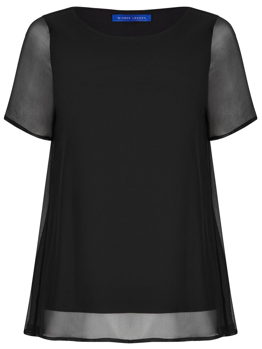 Silk Chiffon A Line Top, Black - pattern: plain; predominant colour: black; occasions: evening; length: standard; style: top; fibres: silk - 100%; fit: body skimming; neckline: crew; sleeve length: short sleeve; sleeve style: standard; texture group: sheer fabrics/chiffon/organza etc.; pattern type: fabric; shoulder detail: sheer at shoulder; season: s/s 2016