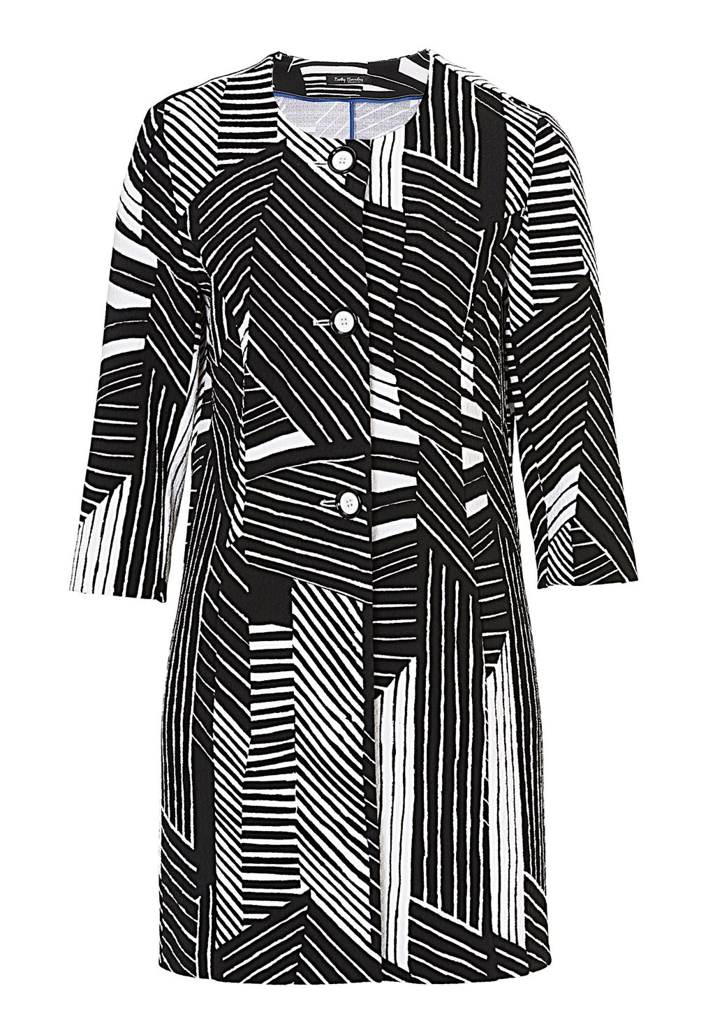 Graphic Print Long Jacket, Black/White - style: single breasted blazer; pattern: striped; collar: round collar/collarless; length: below the bottom; secondary colour: white; predominant colour: black; fit: tailored/fitted; fibres: polyester/polyamide - stretch; sleeve length: 3/4 length; sleeve style: standard; trends: monochrome, graphic stripes; collar break: high; pattern type: fabric; texture group: woven light midweight; occasions: creative work; pattern size: big & busy (top); season: s/s 2016; wardrobe: investment