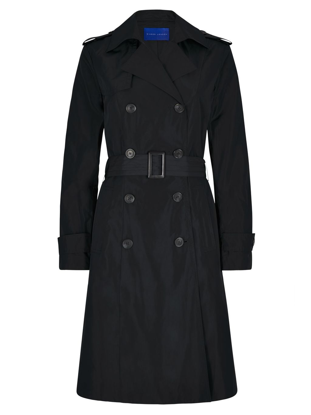 Winser Trench Coat, Black - pattern: plain; style: trench coat; length: on the knee; collar: standard lapel/rever collar; predominant colour: black; occasions: casual; fit: tailored/fitted; fibres: polyester/polyamide - 100%; waist detail: belted waist/tie at waist/drawstring; sleeve length: long sleeve; sleeve style: standard; collar break: medium; pattern type: fabric; texture group: woven bulky/heavy; season: s/s 2016; wardrobe: basic