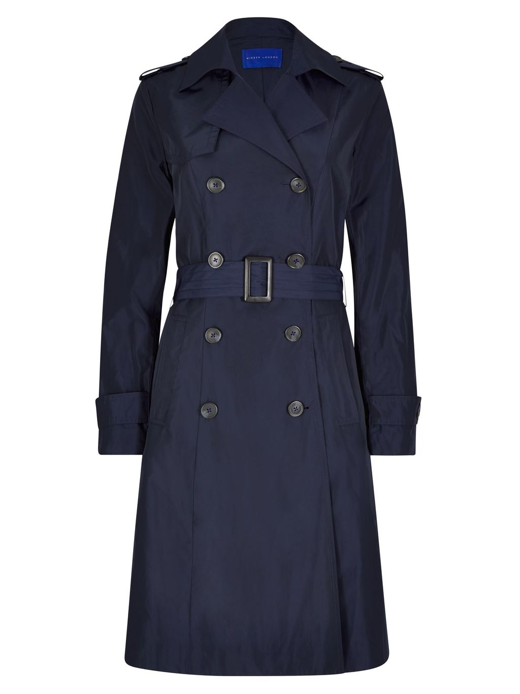 Winser Trench Coat, Navy - pattern: plain; style: trench coat; length: on the knee; fit: slim fit; collar: standard lapel/rever collar; predominant colour: navy; occasions: casual; fibres: polyester/polyamide - 100%; waist detail: belted waist/tie at waist/drawstring; sleeve length: long sleeve; sleeve style: standard; collar break: medium; pattern type: fabric; texture group: woven bulky/heavy; season: s/s 2016