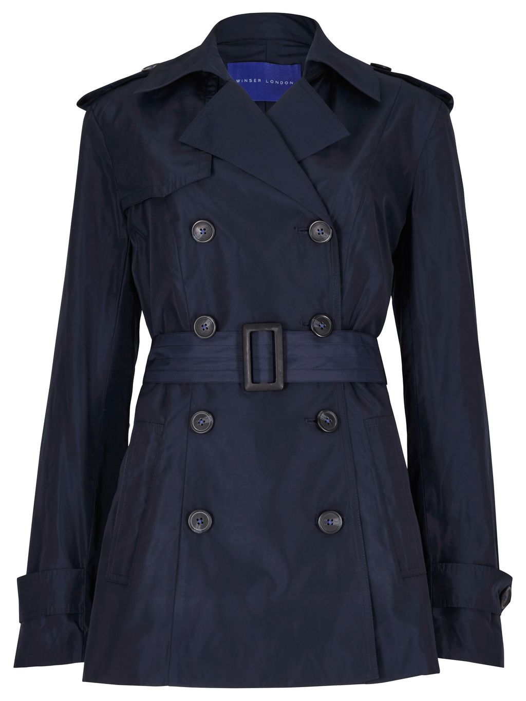 Winser Short Trench, Navy - pattern: plain; length: standard; style: trench coat; collar: standard lapel/rever collar; predominant colour: navy; occasions: casual; fit: tailored/fitted; fibres: polyester/polyamide - 100%; waist detail: belted waist/tie at waist/drawstring; sleeve length: long sleeve; sleeve style: standard; collar break: medium; pattern type: fabric; texture group: woven bulky/heavy; season: s/s 2016; wardrobe: basic