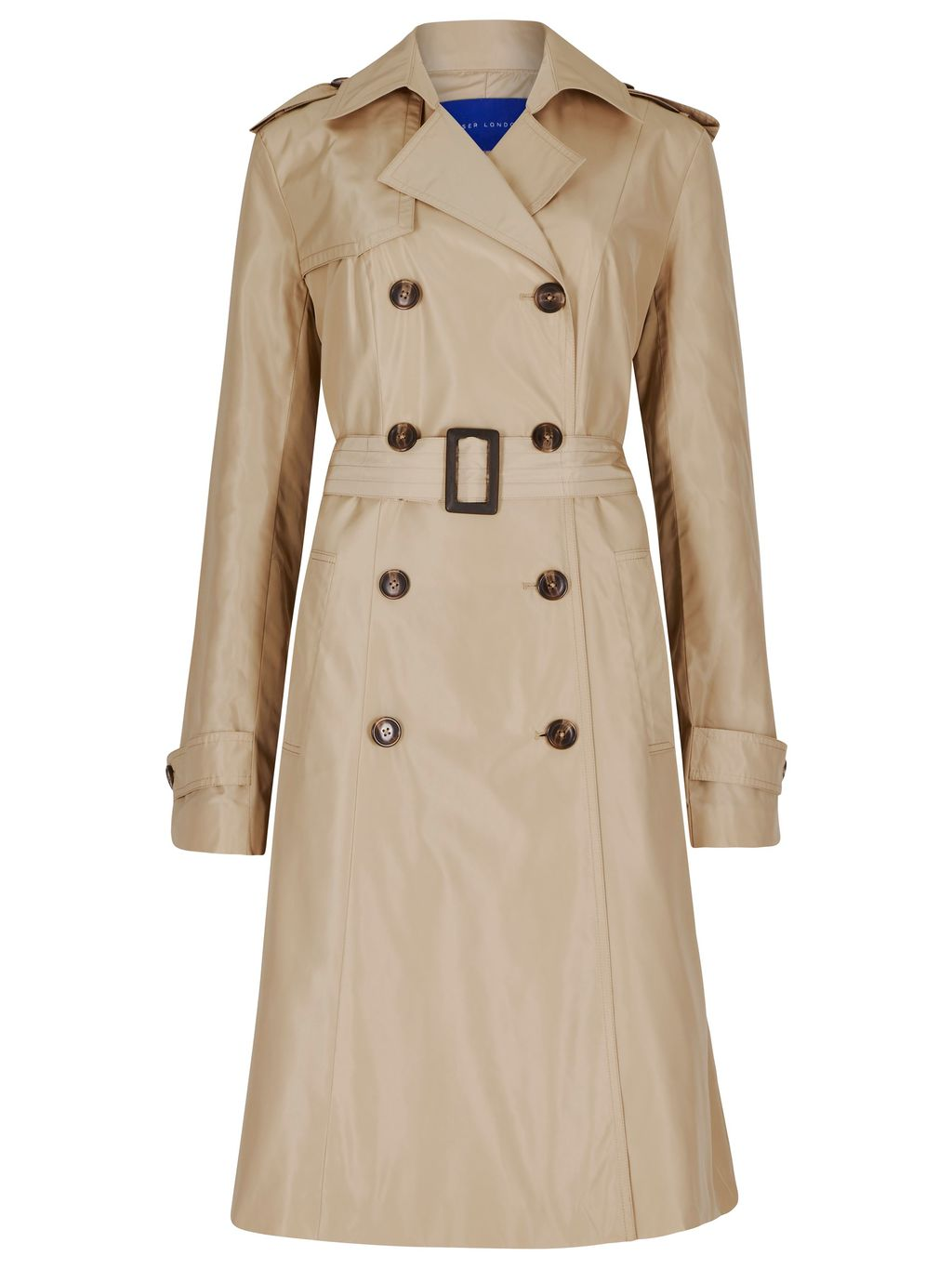 Winser Trench Coat, Beige - pattern: plain; style: trench coat; length: on the knee; collar: standard lapel/rever collar; predominant colour: stone; occasions: casual, creative work; fit: tailored/fitted; fibres: polyester/polyamide - 100%; shoulder detail: discreet epaulette; sleeve length: long sleeve; sleeve style: standard; collar break: medium; pattern type: fabric; texture group: other - light to midweight; season: s/s 2016; wardrobe: basic